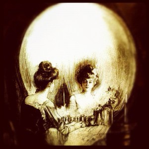 Victorian woman in front of a mirror/skull