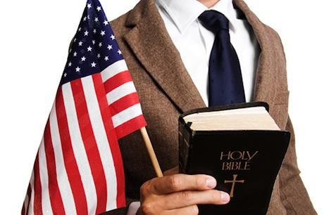 Man with flag and bible