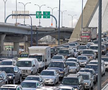 Traffic on the Zakim Bridge