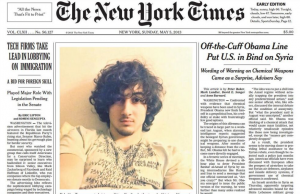 New York Times Tsarnaev Front Page