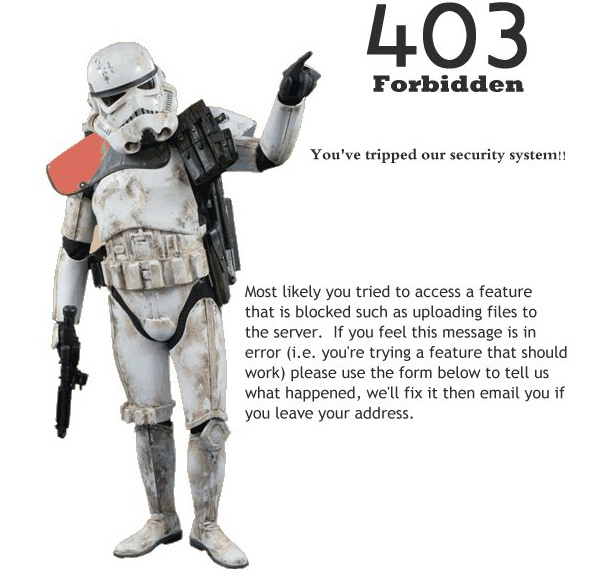 Storm Trooper 403 Error Message