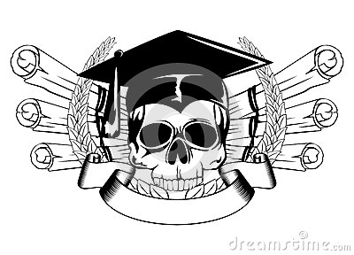 skull graduation cap and scrolls