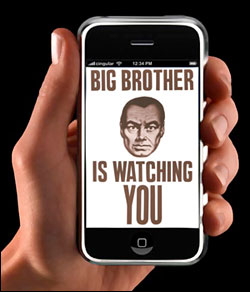 Cell phone screen that says Big Brother is watching you
