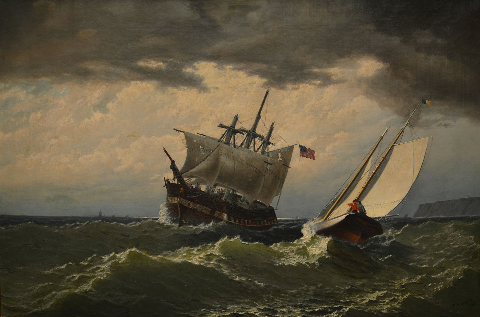 After the Storm by William Bradford: Two sailing ships in a stormy sea