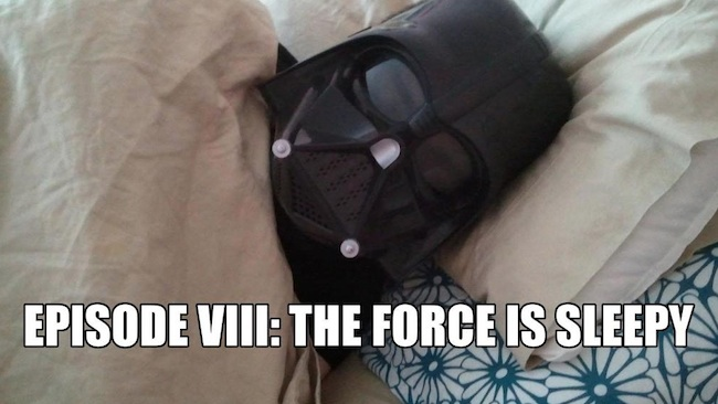 Darth Vader asleep in bed. Beneath him are the words The Force Is Sleepy