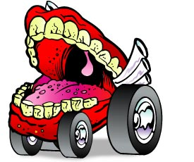 cartoon drawing of a disembodied mouth on four wheels