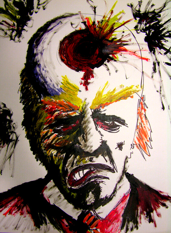 Image drawn with Sharpie of man in suit with the top of head exploding