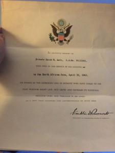 Letter from President Franklin D. Roosevelet