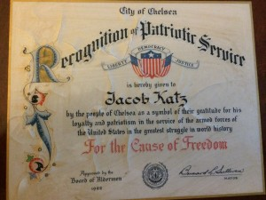 Recognition of Patriotic Service certificate