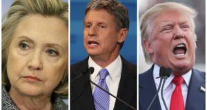 Hillary Clinton, Gary Johnson, and Donald Trump